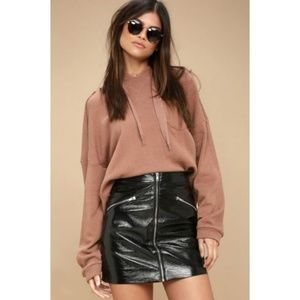 J.O.A. Calabria Faux Leather Zipper Mini Skirt